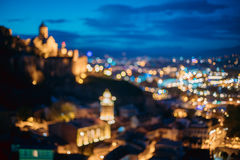 Tbilisi, la Géorgie Contexte abstrait de Bokeh de forteresse antique de Narikala Images libres de droits
