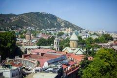 Tbilisi, la Géorgie Vue de la route de câble Photos stock