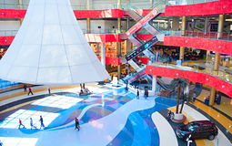 Tbilisi Mall top view, Georgia. TBILISI, GEORGIA - MAY 05, 2015: Tbilisi Mall - largest shopping mall in the Southern Caucasus. The Mall occupies a total of four Royalty Free Stock Photo