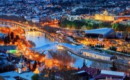 Tbilisi miasto, Gruzja, przy nocą Zdjęcie Royalty Free