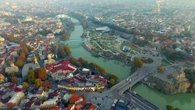 Tbilisi in the morning, aerial stock video footage