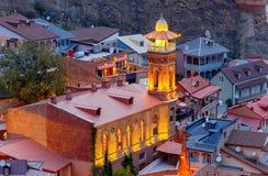 Tbilisi Mosquée de Juma au coucher du soleil Photo stock