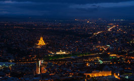 Tbilisi at night - aerial view Stock Photo