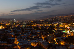 Tbilisi in night. Tbilisi at night, the capitol city of Georgia Stock Photo