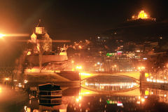 Tbilisi night cityscape Royalty Free Stock Photos