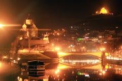 Tbilisi night cityscape Royalty Free Stock Photos