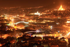 Tbilisi night cityscape Royalty Free Stock Images