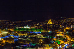 Tbilisi at night. Shot on ancient fortress Narikala at night on the hill, panorama view of old Tbilisi, Georgia Stock Photo