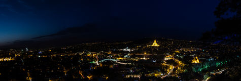 Tbilisi in night. View to panorama of Tblisi, the Capital City in Georgia Stock Image