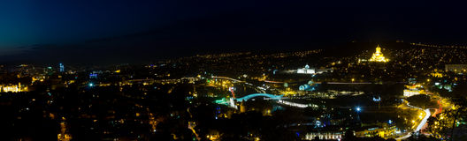 Tbilisi in night. View to panorama of Tblisi, the Capital City in Georgia Royalty Free Stock Photos