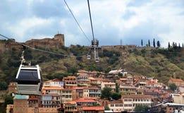 Tbilisi od wagonu kolei linowej Obrazy Royalty Free