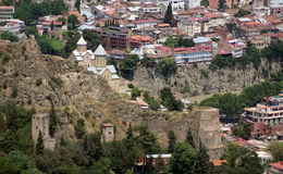 Tbilisi old town. Medieval castle of Narikala and Tbilisi city overview, Republic of Georgia, Caucasus region Royalty Free Stock Image