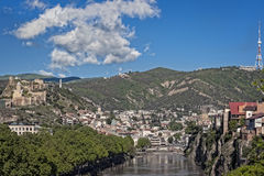 Tbilisi, Old town. View of  Tbilisi, capital of Georgia, from across the Kura River Stock Images