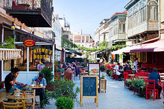 Tbilisi outdoor restaurant Stock Photography