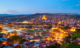 Tbilisi panorama, Georgia. Panoramic view of Tbilisi in the twilight. Georgia Royalty Free Stock Image
