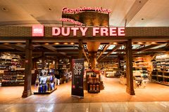 Duty Free Shop in Tbilisi airport. TBILISI, REPUBLIC OF GEORGIA - JULY 23, 2018: Duty Free Shop in Tbilisi airport. Duty-free shops are retail outlets that are royalty free stock image