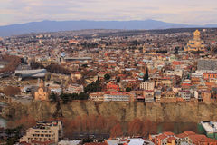 Tbilisi and Sameba cathedral Royalty Free Stock Image