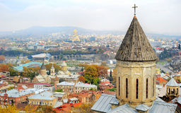 Tbilisi skyline. Cityscape of Tbilisi, Georgia.  Aerial view Royalty Free Stock Photo