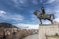 Tbilisi Vakhtang Gorgasali Monument. Spring 2013 Royalty Free Stock Image