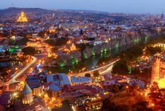 Tbilisi. View of the city at night. Royalty Free Stock Photography