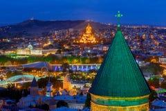 tbilisi Widok miasto przy nocą Obrazy Royalty Free