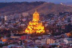 tbilisi Widok miasto przy nocą Zdjęcia Royalty Free
