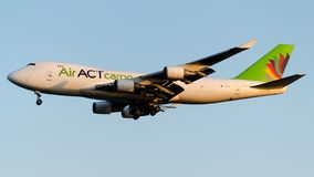 TC-ACR, ACT Airlines , Boeing 747-400F. TC-ACR is on final approach 05 at Istanbul Ataturk Airport LTBA, September 4 , 2018 royalty free stock photography