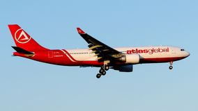TC-AGL AtlasGlobal, Airbus A330-200. TC-AGL is on final approach runway 35L at Istanbul Ataturk Airport LTBA, January 8, 2019 royalty free stock photography