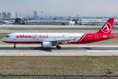TC-ATE AtlasGlobal, Airbus A321-211 Imagens de Stock Royalty Free