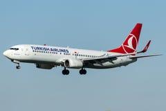 TC-JFK Turkish Airlines, Boeing 737-8F2 ZONGULDAK Fotografia Stock Libera da Diritti