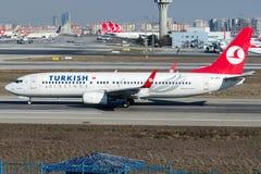 TC-JFV Turkish Airlines, Boeing 737 - 800 που ονομάζονται AKSEHIR Στοκ Εικόνα