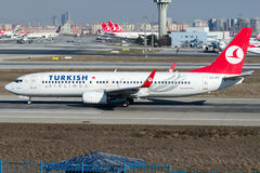 TC-JFV Turkish Airlines, Boeing 737 - 800 namngav AKSEHIR Fotografering för Bildbyråer