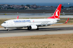 TC-JGB Turkish Airlines, Boeing 737-8F2 named FOCA Royalty Free Stock Photos