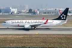 TC-JHE Turkish Airlines, Boeing 737-8F2 named BURHANIYE Stock Image