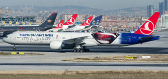 TC-JJN Turkish Airlines, Boeing 777-3F2/ER named ANADOLU Royalty Free Stock Photos