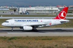 TC-JLN Turkish Airlines, flygbuss A319-132 som namnges KARABUK Arkivfoton
