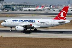 TC-JLP Turkish Airlines, flygbuss A319-132 som namnges KOYCEGIZ Arkivbilder