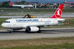 TC-JLU土耳其航空, A319-132名为SULTANAHMET的空中客车 免版税库存照片
