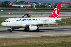 Tc-JLU Turkish Airlines, Luchtbus A319-132 genoemd SULTANAHMET Royalty-vrije Stock Foto's
