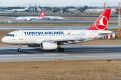 TC-JLY土耳其航空, A319-132名为贝尔加马的空中客车 免版税库存照片