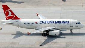 TC-JLY Turkish Airlines, flygbuss A319-132 som namnges BERGAMA Fotografering för Bildbyråer