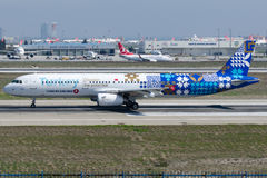 TC-JRG Turkish Airlines, Airbus A321-231 with discover the potential livery, named FINIKE Royalty Free Stock Photos