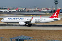 TC-JST Turkish Airlines Airlines, Airbus A321-231 named DIYARBAKIR. TC-JST is rolling for take-off on runway 35L at Istanbul Ataturk Airport LTBA, August 15 Royalty Free Stock Photo