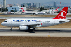 TC-JUB Turkish Airlines, flygbuss A319-132 som namnges YESILKOY Arkivfoton