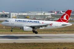 TC-JUD土耳其航空空中客车A319-132 BAHCELIEVLER 免版税库存图片