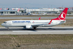 TC-JVB Turkish Airlines , Boeing 737-8F2 named SULTANGAZI Royalty Free Stock Photos