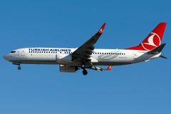TC-JVZ Turkish Airlines, Boeing 737-800 genanntes BESTEPE Lizenzfreies Stockfoto