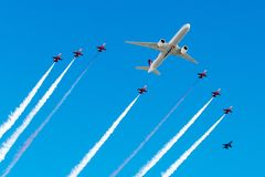 TC-LJA Turkish Airlines, Boeing 777-3F2ER in delta formation flight stock photography