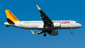 TC-NBV Pegasus Airlines, Airbus A320-200NEO. TC-NBV is on final approach runway 06 at Istanbul Sabiha Gokcen Airport LTFJ, December 31, 2018 royalty free stock images