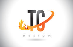 TC T C Letter Logo with Fire Flames Design and Orange Swoosh. TC T C Letter Logo Design with Fire Flames and Orange Swoosh Vector Illustration Stock Image